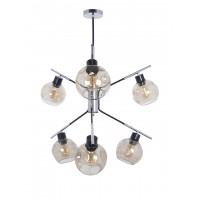 Modern Minimalist Wing Chandelier with Golden Distorted Glass Globes