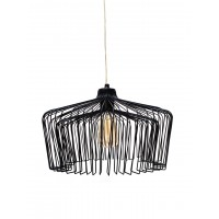 Modern Wire Cage Dome Black Hanging Pendant Light