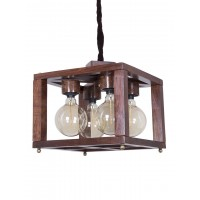 Open Frame 4 Light Hardwood Cube Chandelier Pendant Lamp