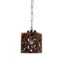 Wooden Cut Square Mini Pendant Light