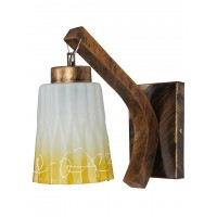 Surface Mounted Wall Light in Gold Colour With Steel, Glass & Wooden Body. Perfect Amenity for Decor any Place