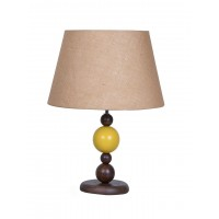 Yellow Ball Wood Table Lamp with Jute Shade