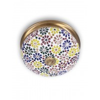 Multicolored Mosaic Brass Ceiling Lamp-Large