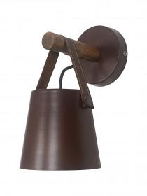 New York Style Round Bucket With Leather Belt Wall Sconce