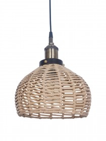 Handwoven Wicker Faux Cane 10 Inches Dome Hanging Pendant Light