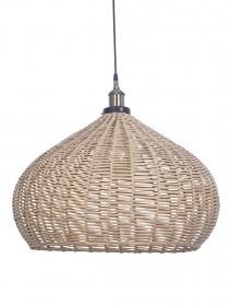 Handwoven Wicker Faux Cane 21 Inches Dome Hanging Pendant Light