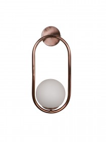 Modern Antique Copper Capsule Ring White Globe Wall Sconce