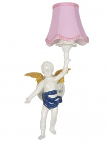 Classic Angel Cast Aluminium White Wall Sconce with Pink Shade