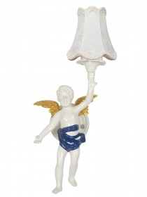 Classic Angel Cast Aluminium White Wall Sconce with White Shade