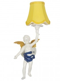 Classic Angel Cast Aluminium White Wall Sconce with Yellow Shade
