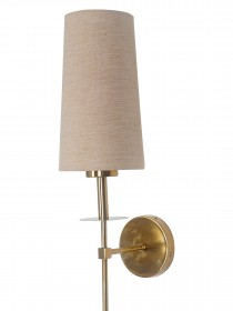 Savoy Long Arm Antique Gold Wall Sconce with Beige Fabric Shade.