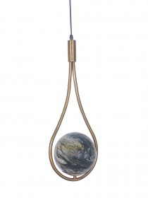 Modern Antique Gold Loop Pendant Light with Yellow Black Marble Glass Globe