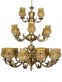 Traditional Meena Aluminium 21 Lights 3 Step Chandelier in Antique Brass Finish and Amber Yellow Crackle Glass Shade for Foyer, Entrance, Hotels