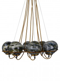 Modern 8 Black Yellow Marbles Globes Cosmic Ring Chandelier in Antique Gold Finish