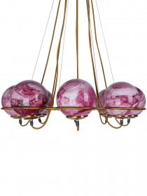 Modern 8 Red Marbles Globes Cosmic Ring Chandelier in Antique Gold Finish