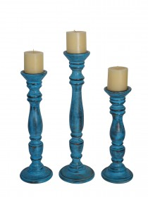 Rustic Blue Set of 3 Wooden Pillar Candle Stands (without candles)