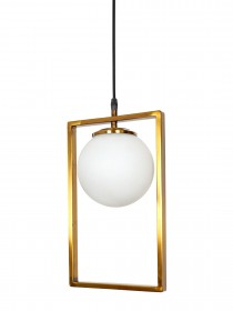Mid Century Modern Antique Gold Rectangular Ring Hanging Light with Frosted Glass Globe