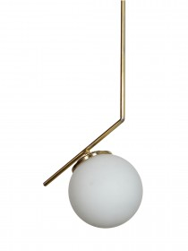 Mid Century Modern Steel Tangent Ceiling Light in Matt Gold Finish and Frosted Glass Globe