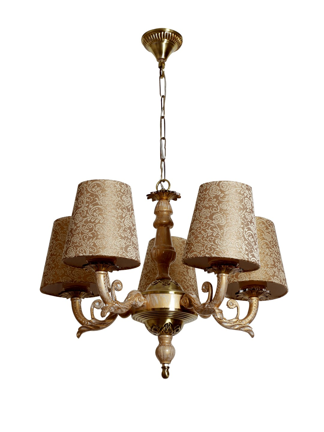 Golden White 5 Light Chandelier in Brocade Shades