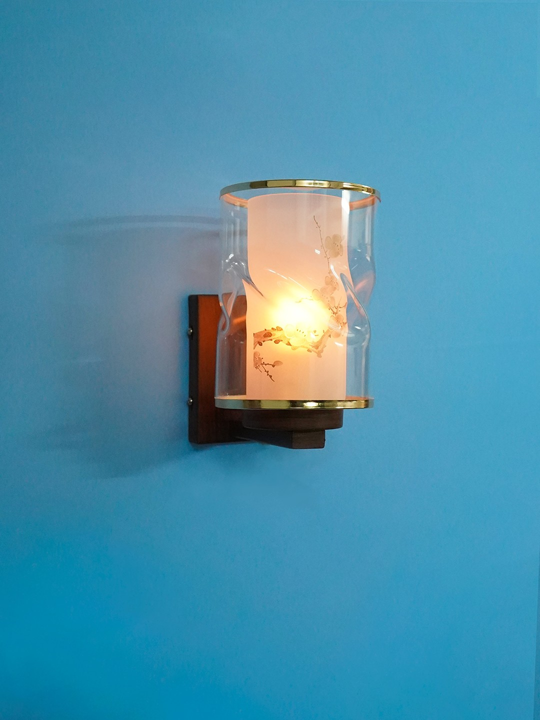 Golden Rimmed Glass and Wood Finished Single Metal Wall Sconce