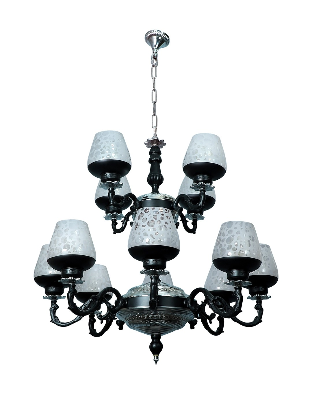 Black & Silver Gothic 12 Light  2 Tier Aluminium Chandelier