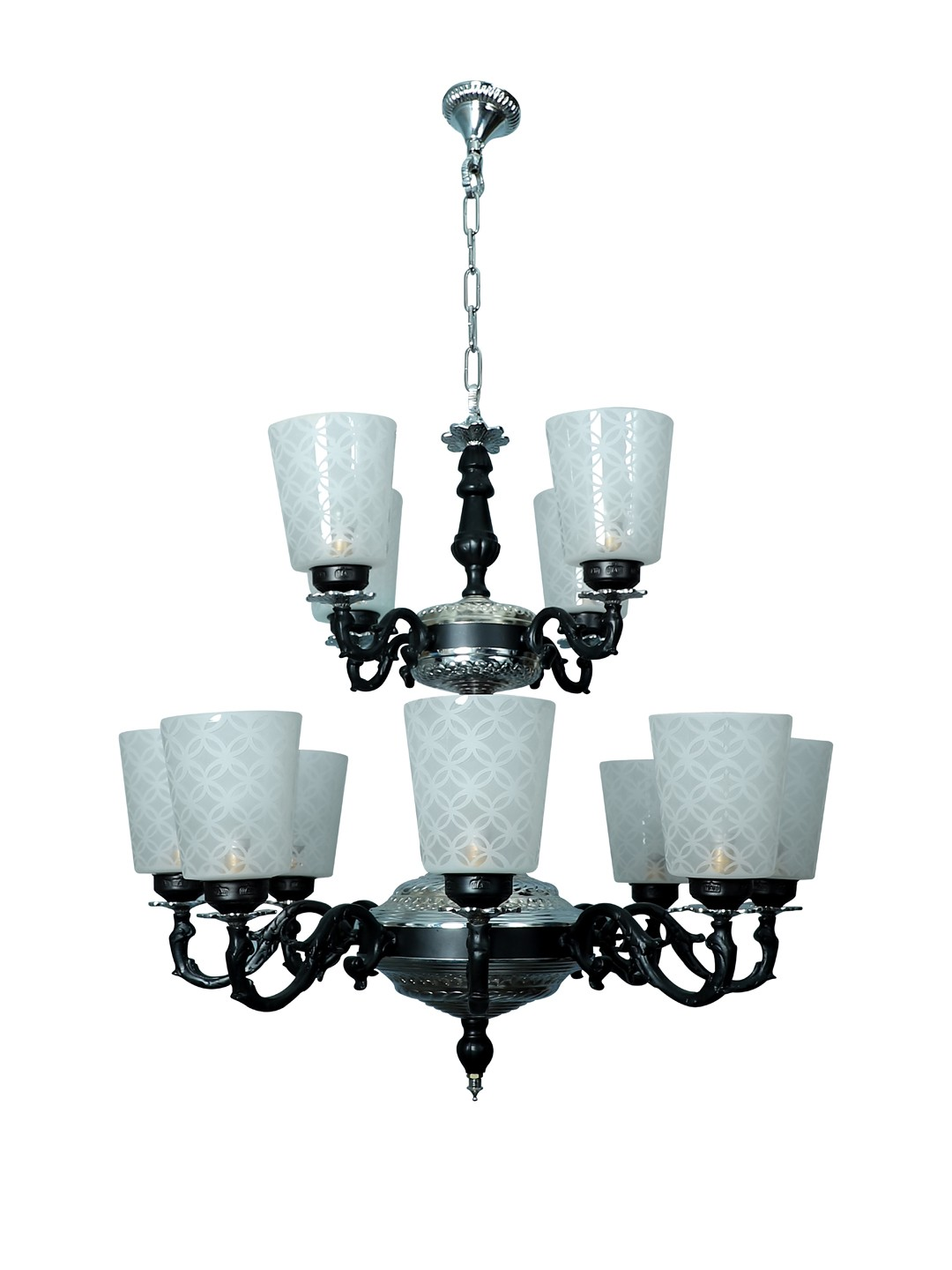 Black & Silver Mystique 12 Light  2 Tier Aluminium Chandelier
