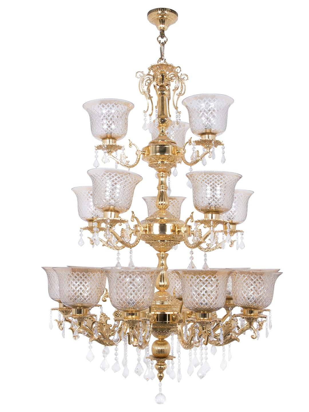 Majestic Gold & Crystal Aluminium 3 Tier 18 Light Chandelier with Golden Hand Cut Glass Shades