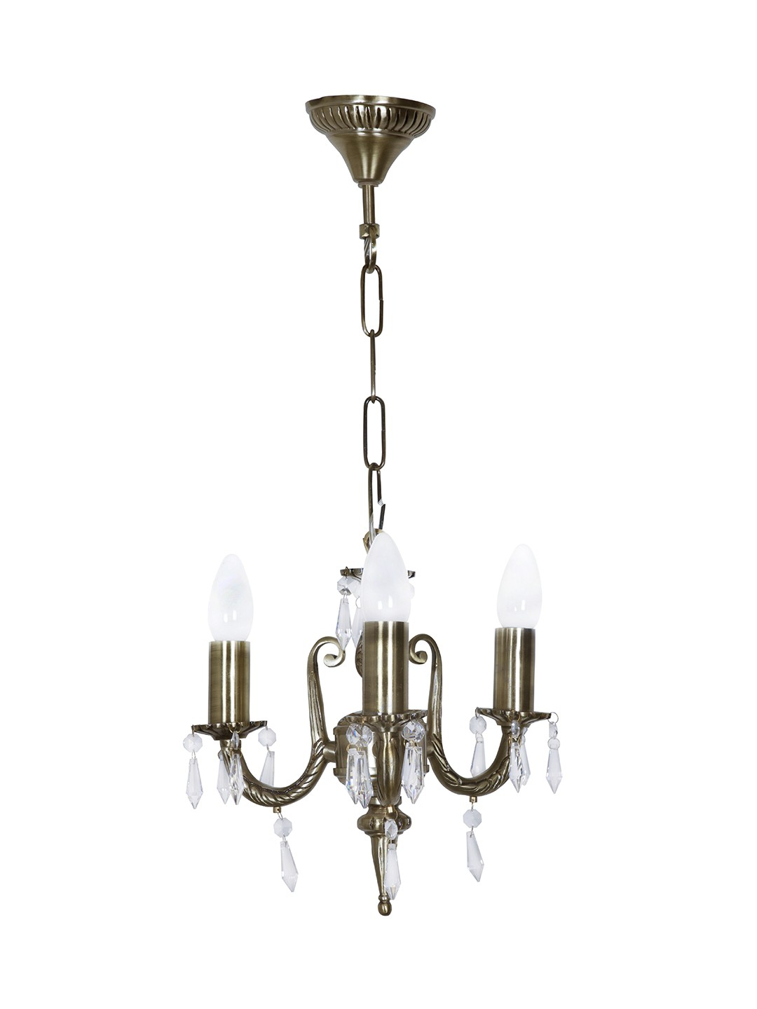 3 Light Aluminium Crystal Mini Chandelier