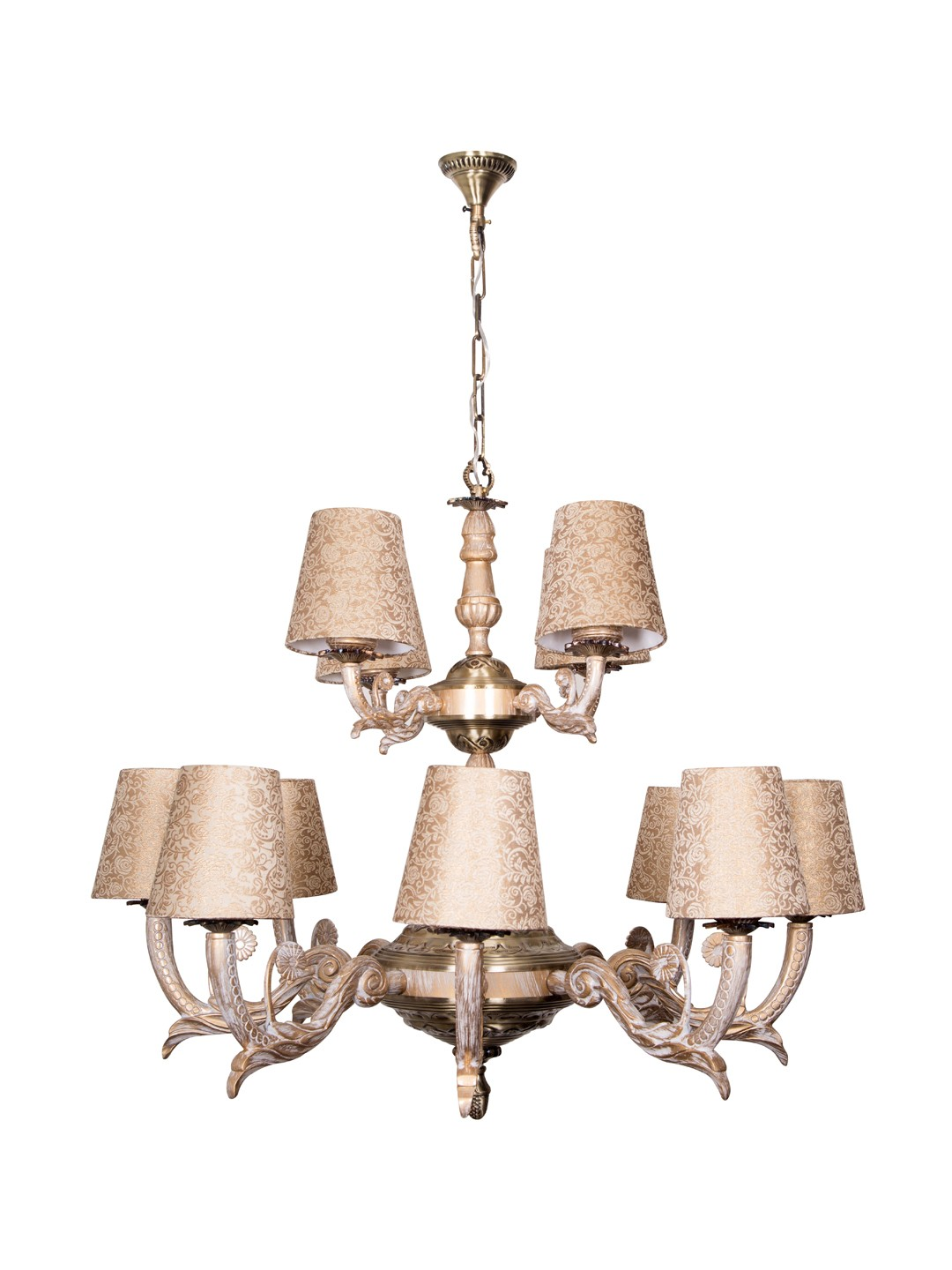 Golden White 12 Light 2 Tier Chandelier in Brocade Shades