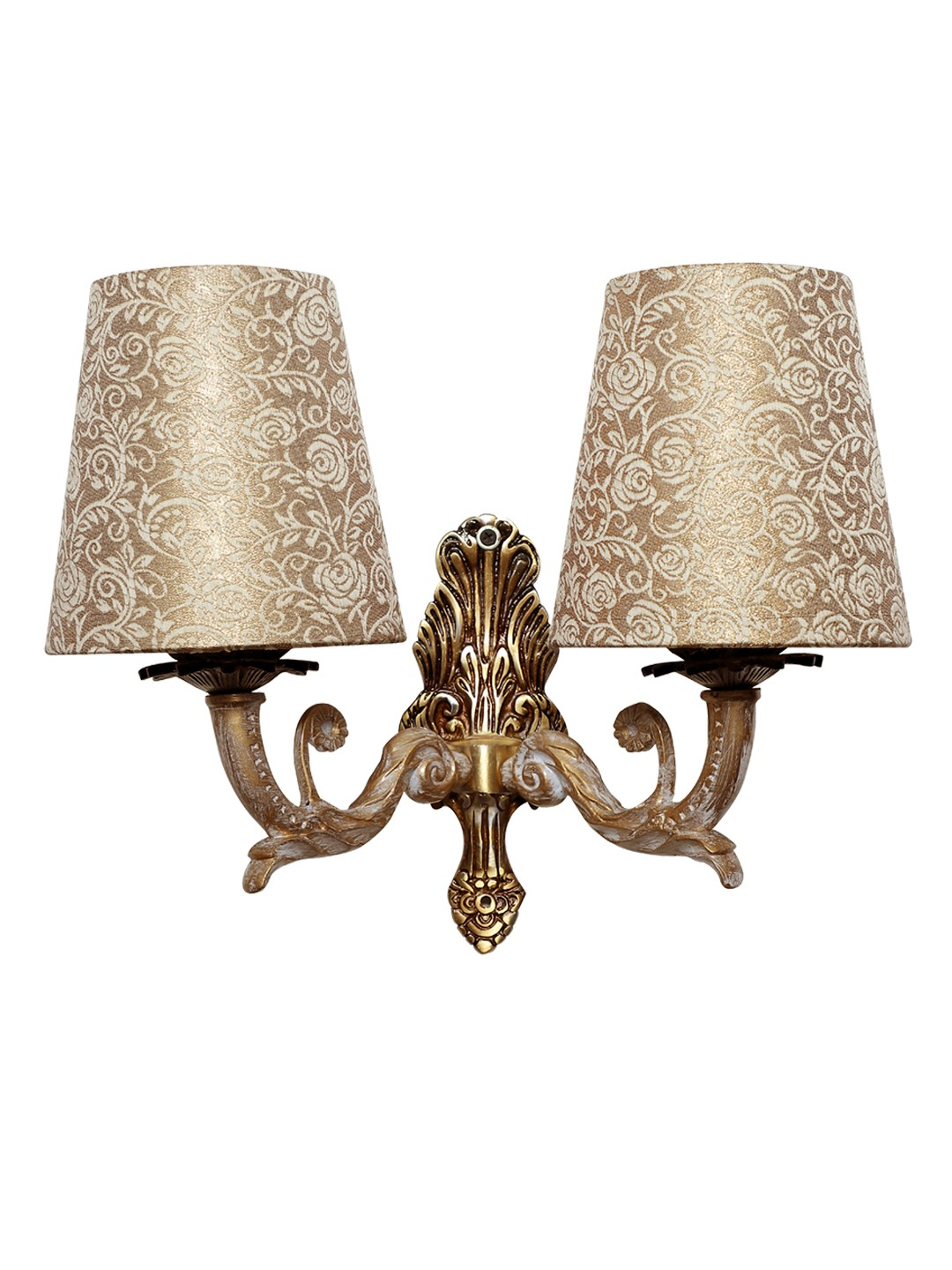 Golden White Double Wall Sconce in Brocade Shades