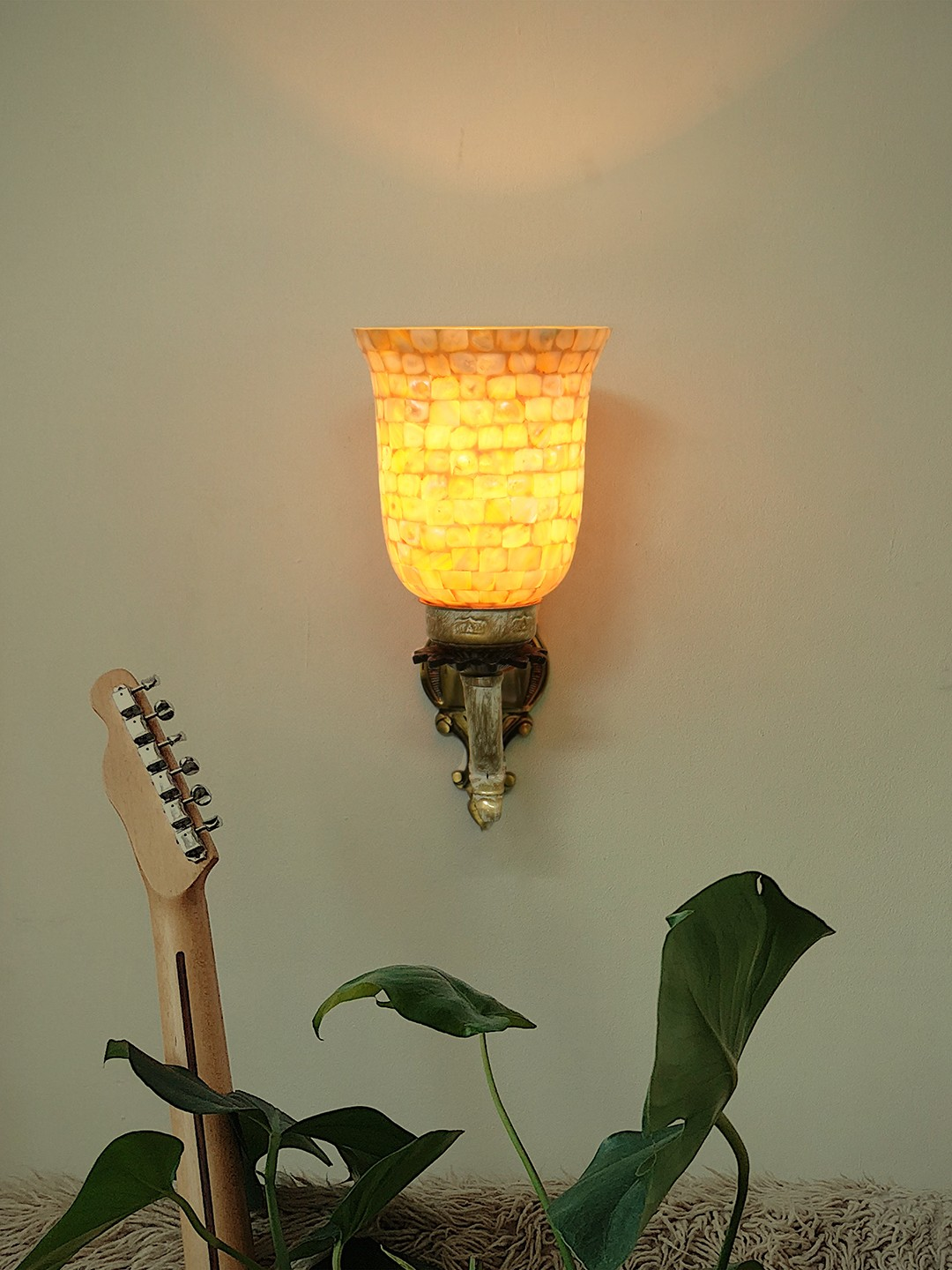 Golden White Single Lamp Wall Sconce with Mother of Pearl Glass Shades