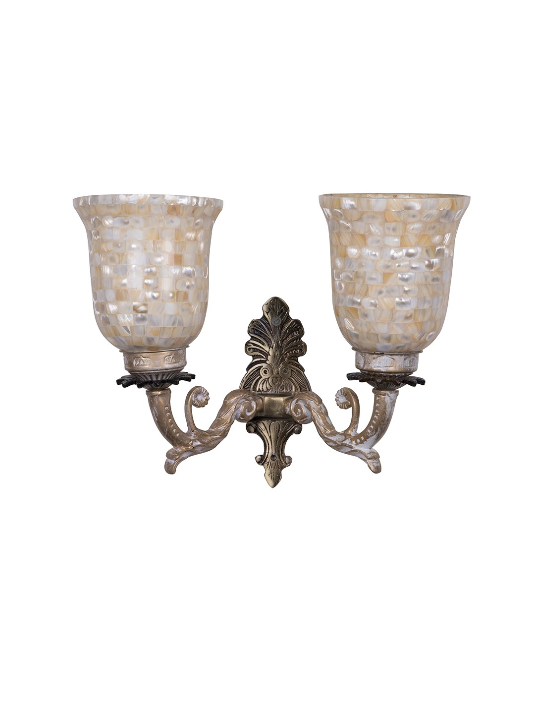 Golden White Double Wall Sconce with Mother of Pearl Glass Shades