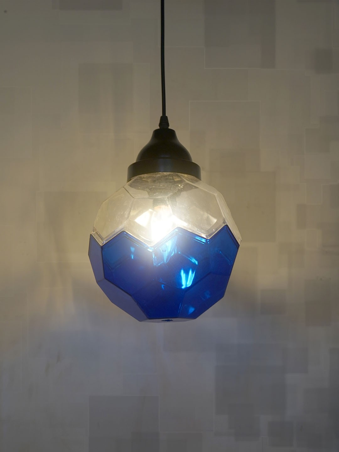 Football Shaped Acrylic Hanging Light in Blue and Clear Color