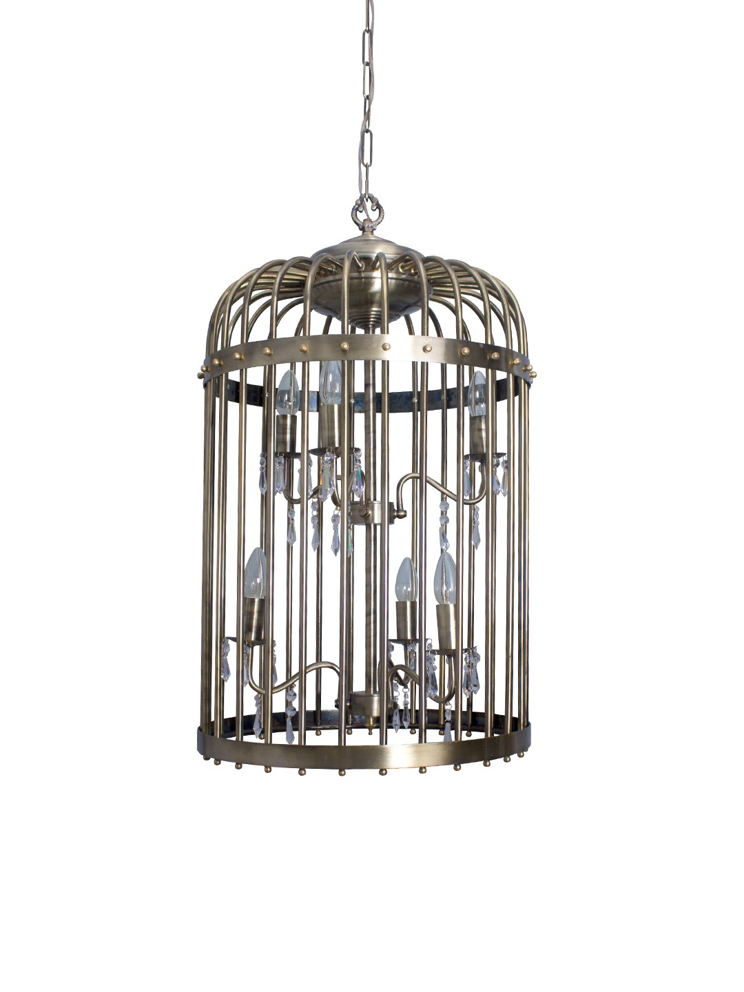 Antique Finished 6 light Birdcage Hanging Light with Crystals