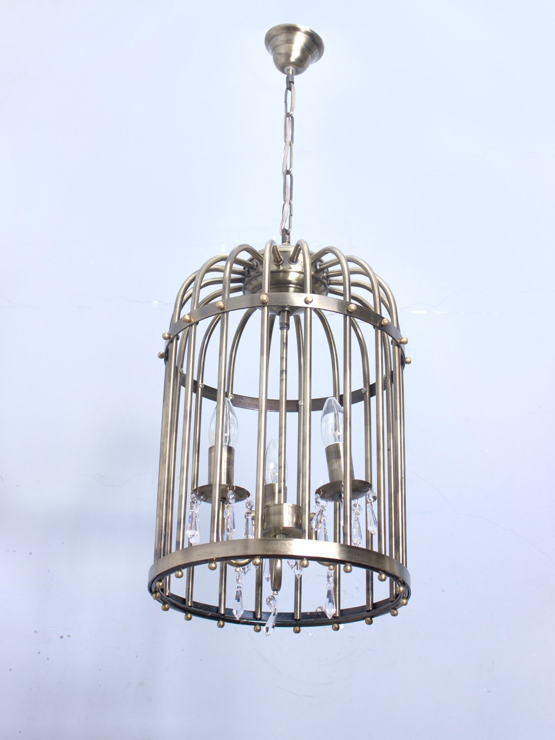 Antique Finished 3 light Birdcage Hanging Light with Crystals
