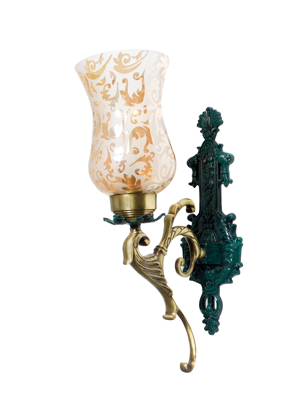 Regal Green Patina and Golden Single Wall Sconce