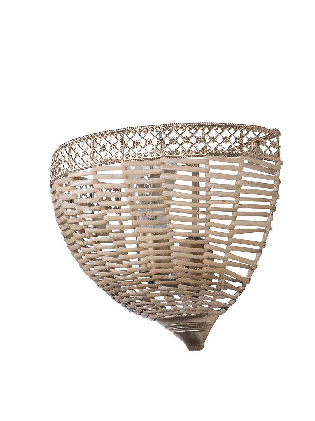 Wicker Cane Dome Wall Sconce