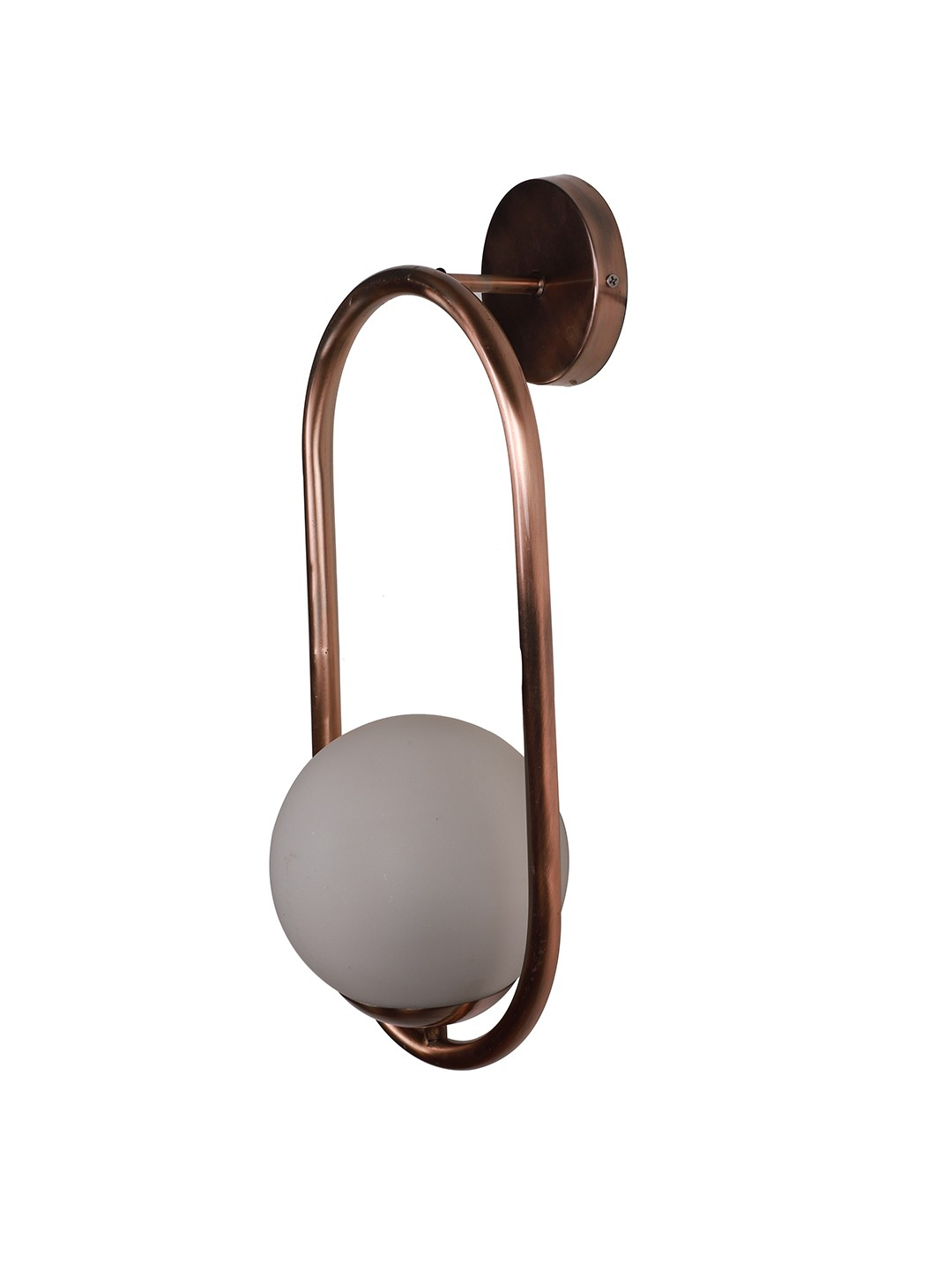 Modern Antique Copper Rose Finished Capsule Ring White Globe Wall Sconce
