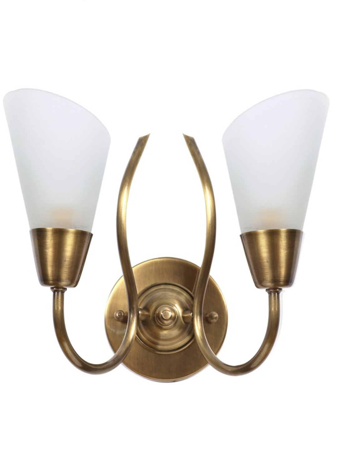 Modern Cone Antique Brass Double Wall Sconce