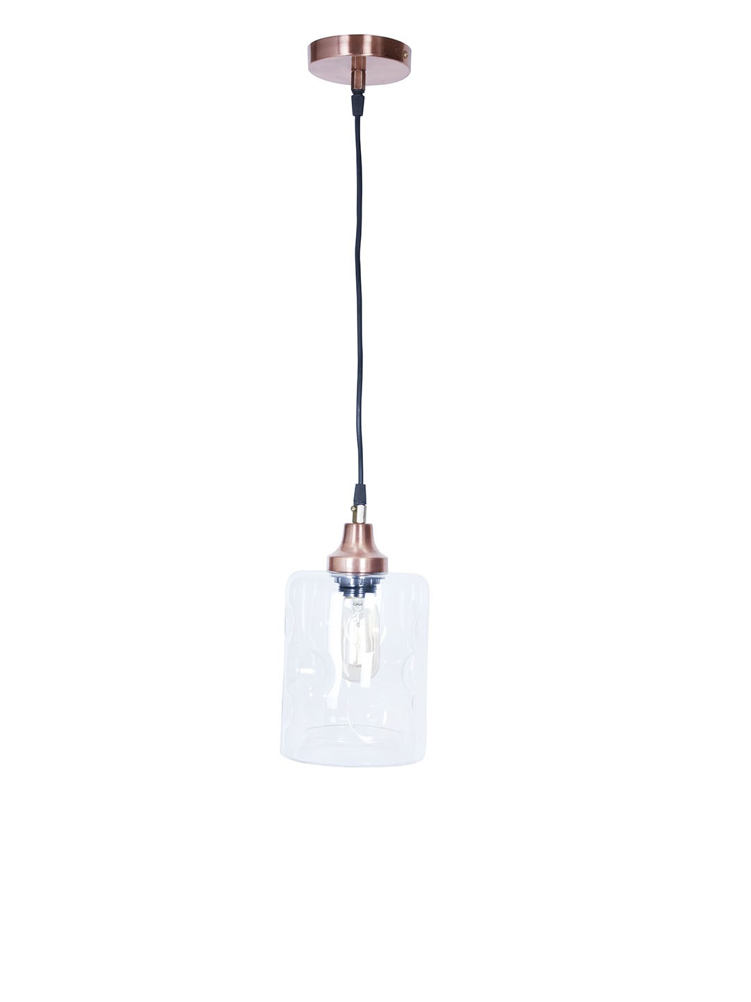 Contemporary Copper Finished Distorted Glass Cylinder Pendant Light