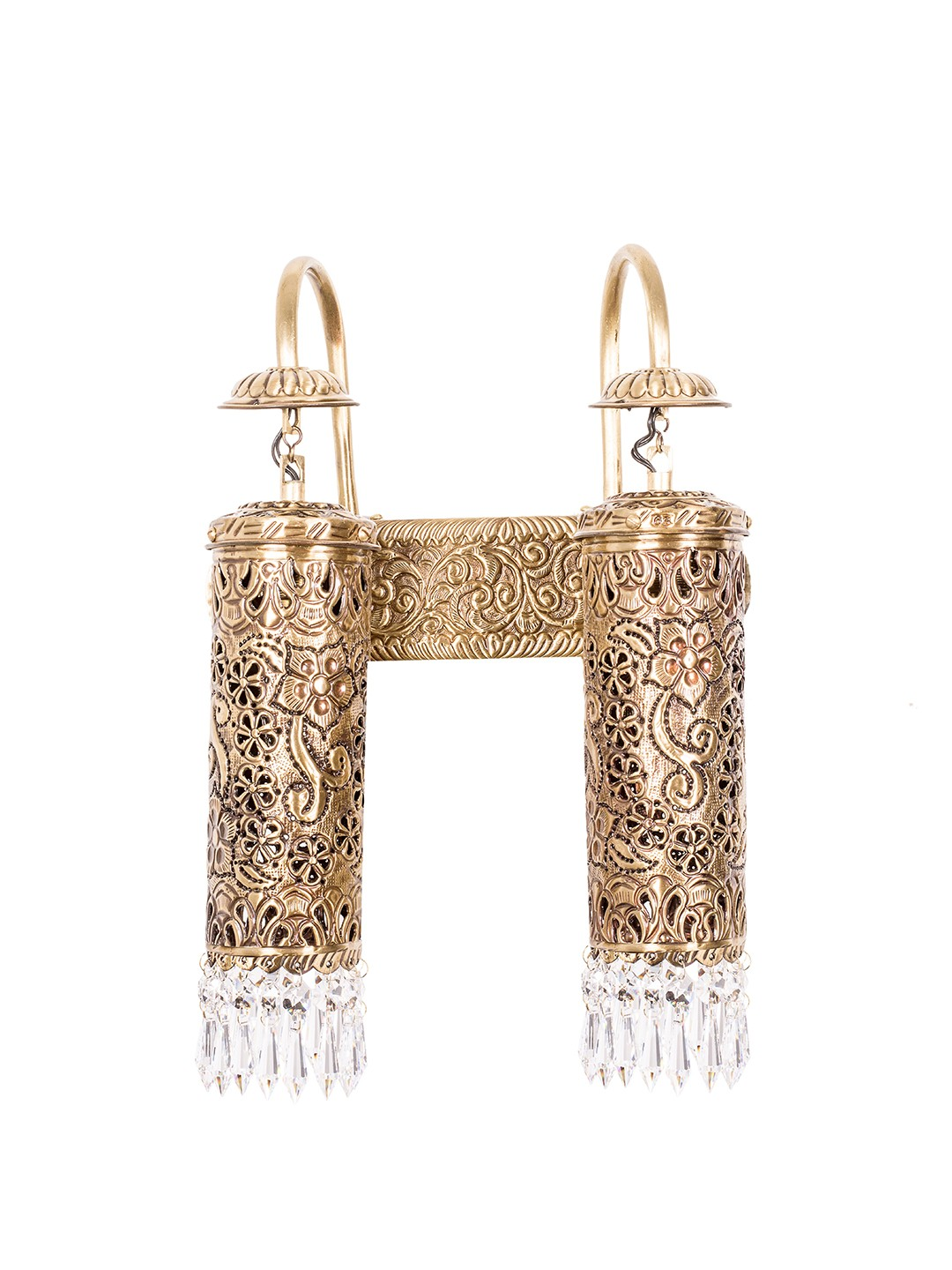 Hand Carved Brass & Crystal Mini Cylinder Wall Sconce