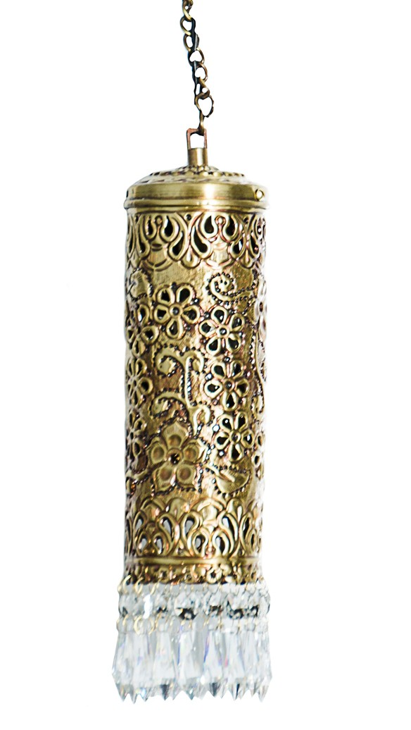 Hand Carved Brass & Crystal Mini Cylinder Hanging Light