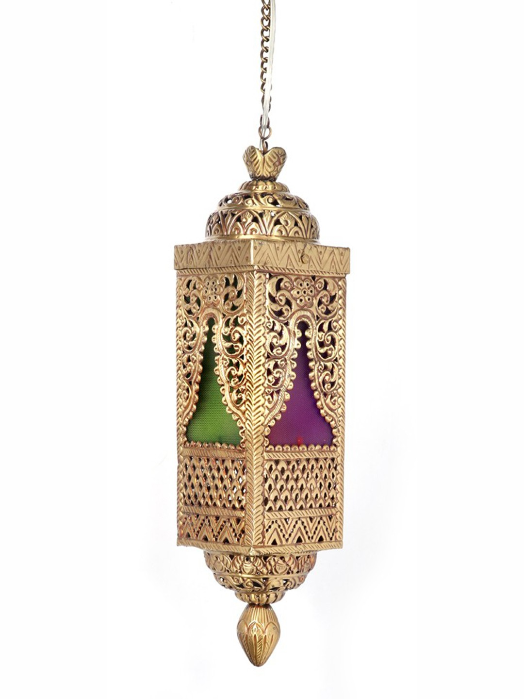Handcrafted Brass and Colored Glass Pendant Light