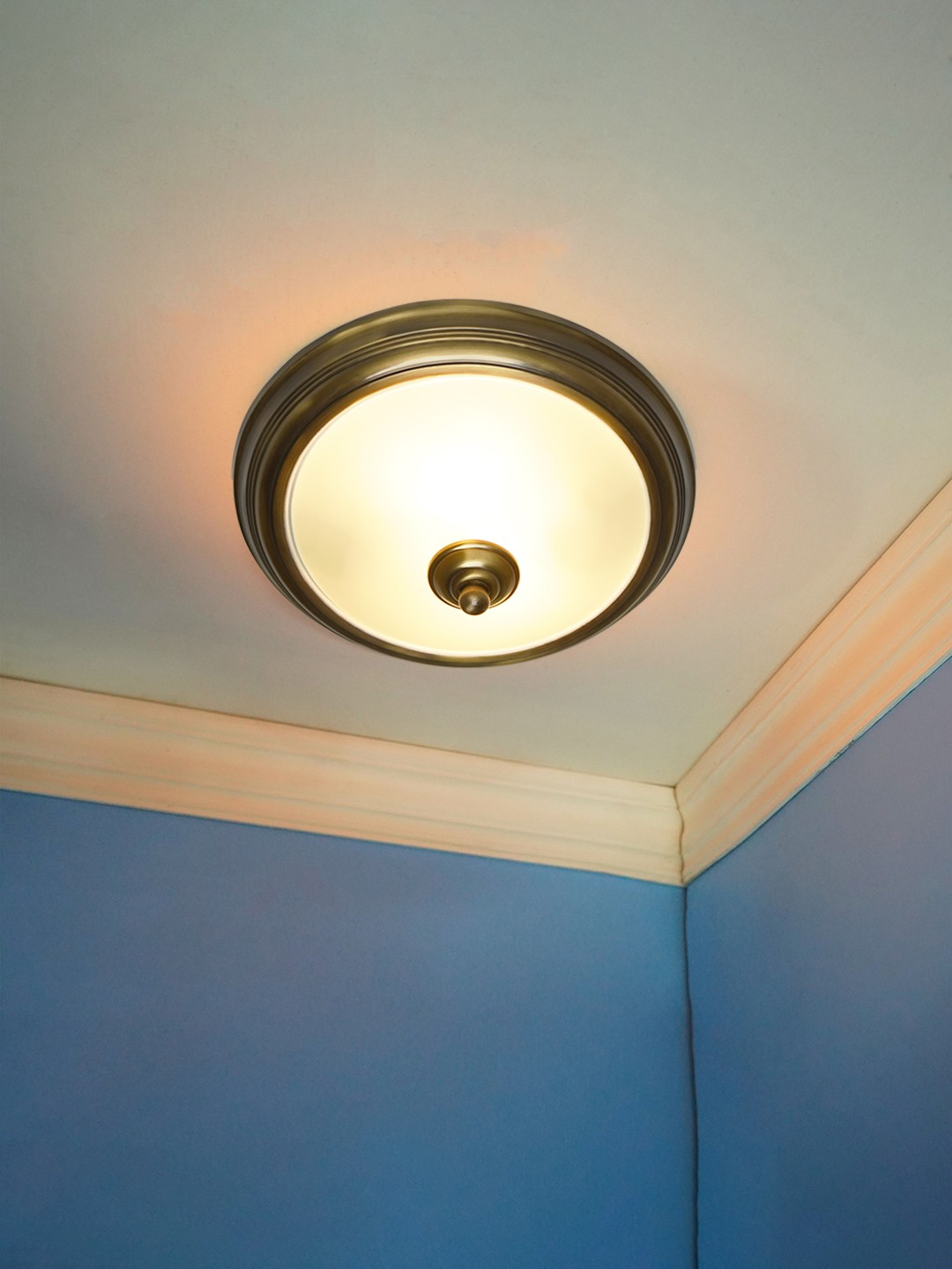 Dish Antique Brass Ceiling Light