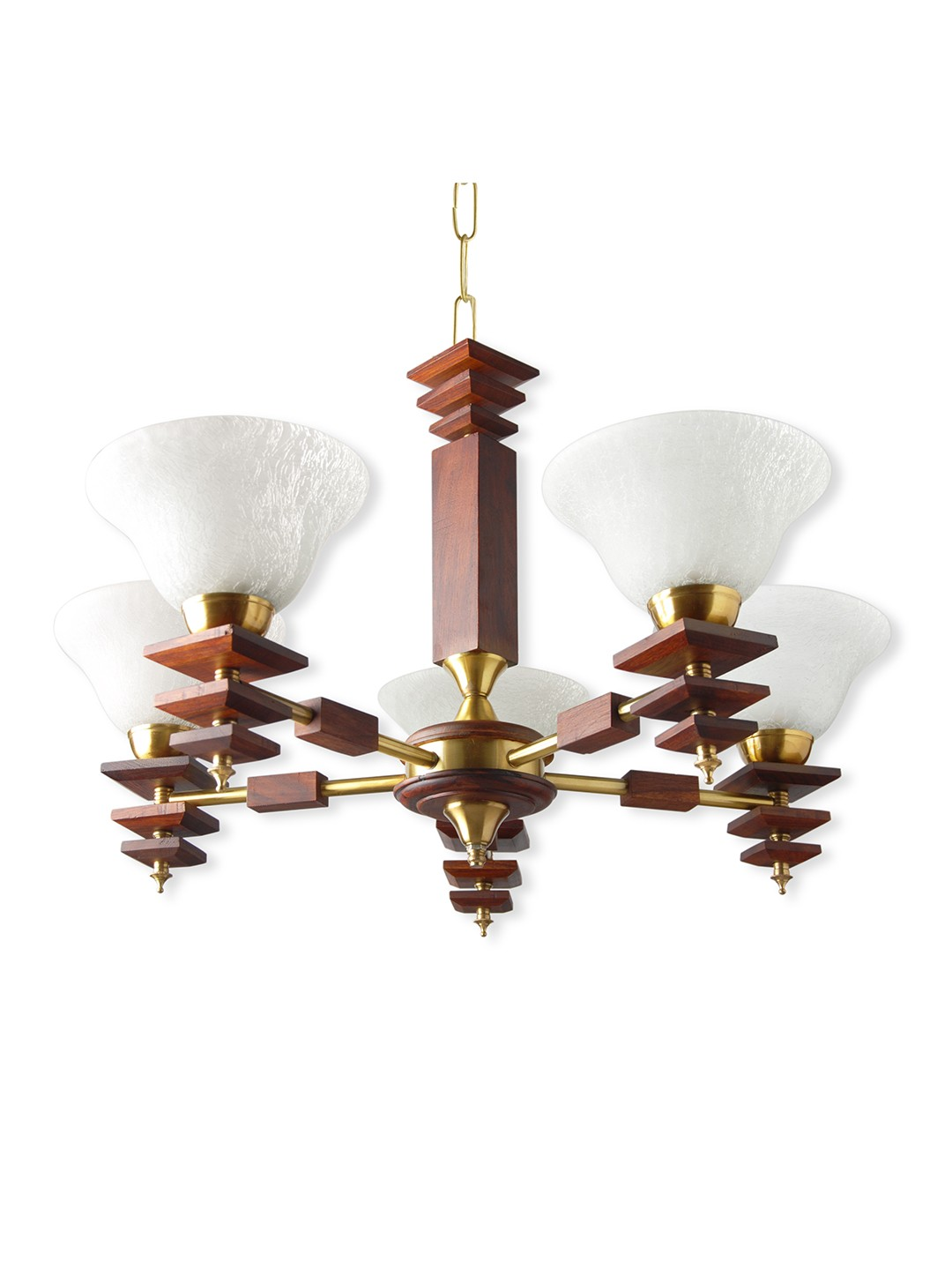 Dolphin Rose Wood Finished  5 Light Energy Saver Chandelier