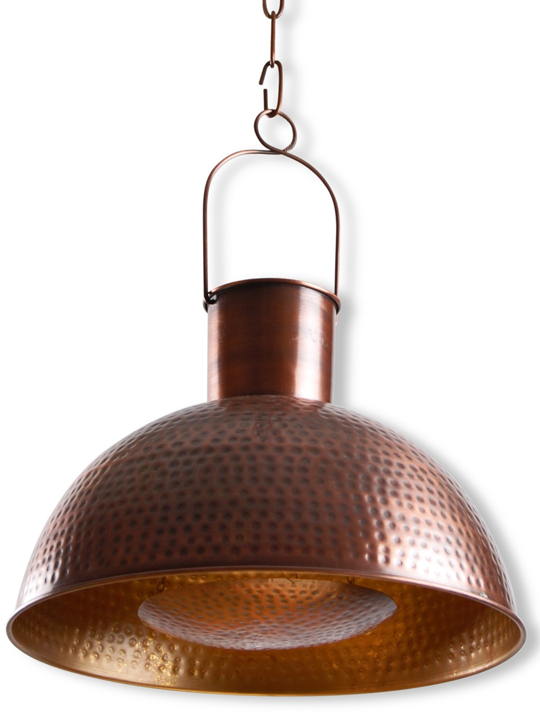 Hand Hammered Copper Chimney 15 inches Dome Pendant Light