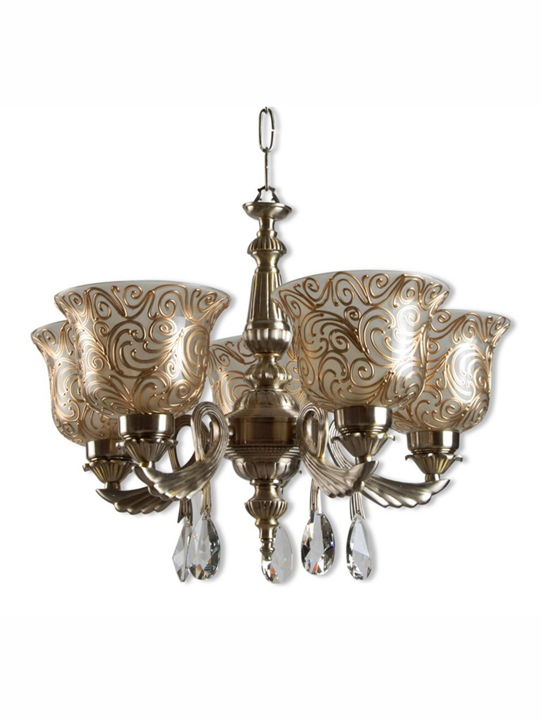 Badam Kapa 5 Light Antique Brass Chandelier