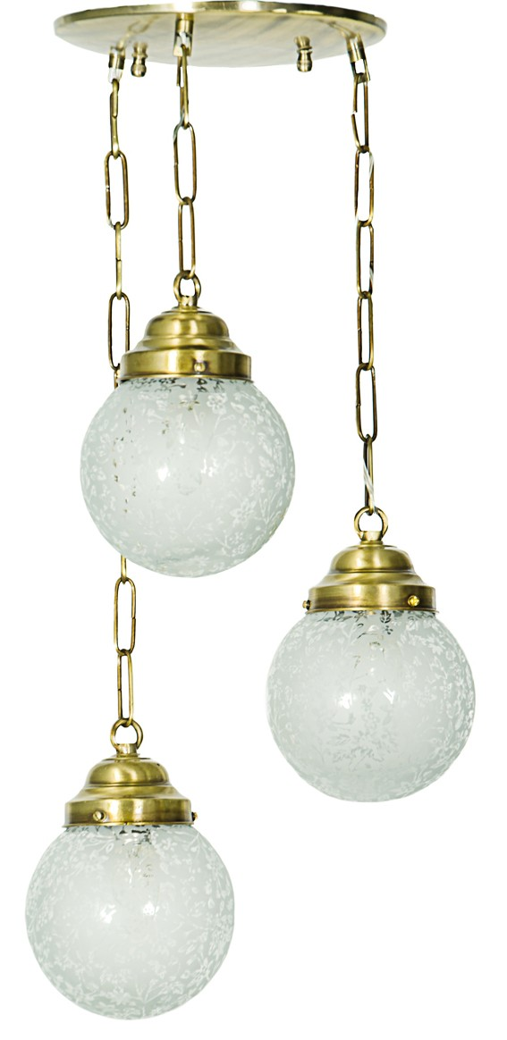 Set of 3 Staggered Etched Globe Hanging Light
