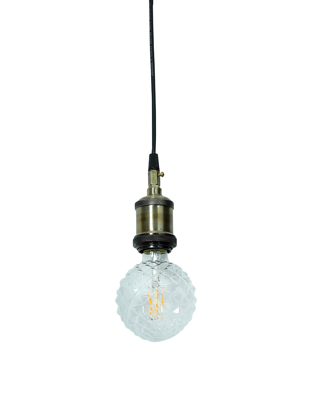 Edison Hanging with LED Raised Cut Glass Pyramid Globe E27 Bulb