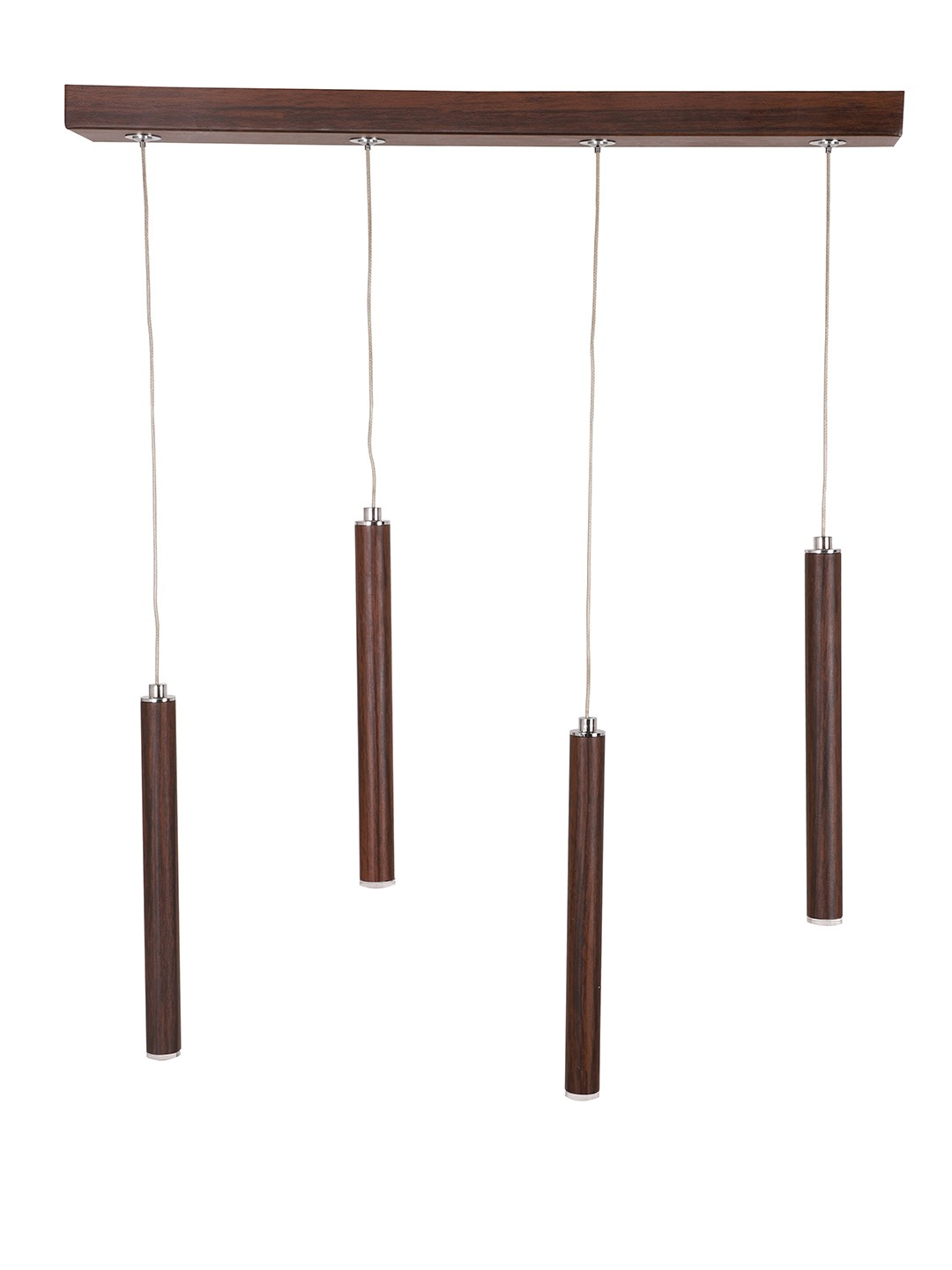 Modern 4 Flutes Tubular Wooden Finished 24 Watts LED Cluster Pendant Light